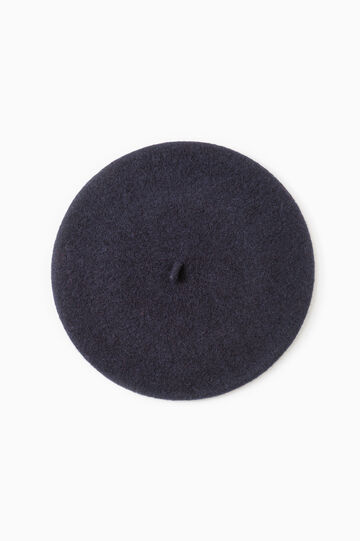 Solid colour wool beret, Navy Blue, hi-res