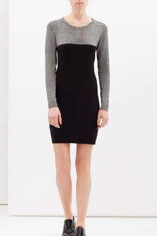 Two-tone stretch dress, Black/White, hi-res