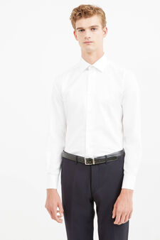 Slim-fit formal shirt with bluff collar, White, hi-res