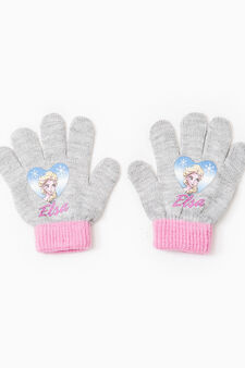 Solid colour gloves with Frozen print, Grey, hi-res