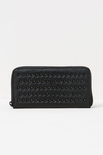 Crocodile texture wallet, Black, hi-res