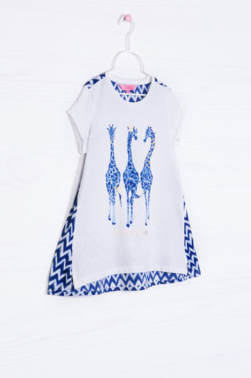 Stretch cotton T-shirt with printed back, Milky White, hi-res