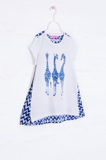 T-shirt cotone stretch stampa retro, Bianco latte, hi-res