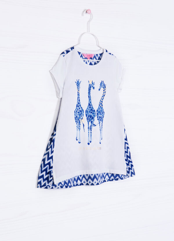 Stretch cotton T-shirt with printed back | OVS