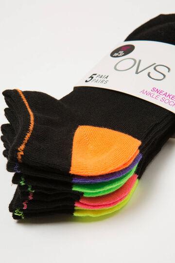 Five-pack solid colour short socks, Multicolour, hi-res