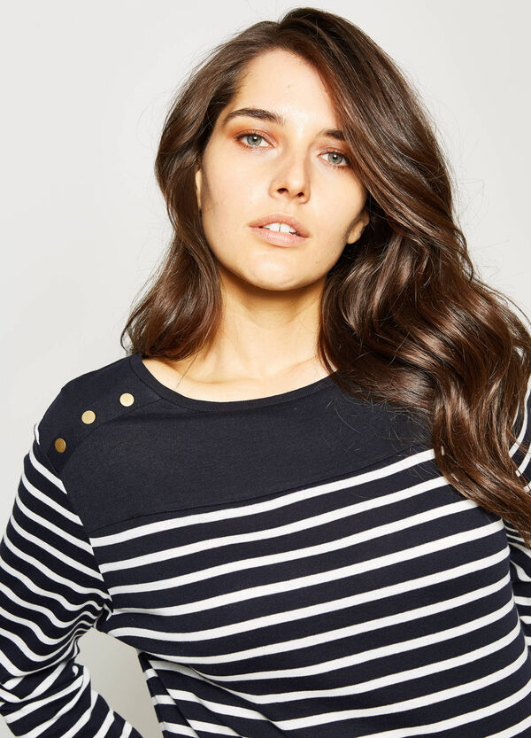 Curvy striped pullover with studs | OVS