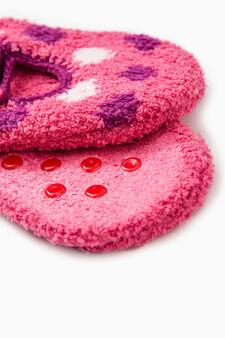 Stretch polka dot slipper socks, Fuchsia, hi-res