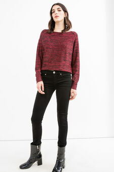 Round neck pullover with raglan sleeves, Black/Red, hi-res