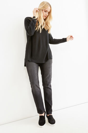 Curvy plain wool blend pullover, Black, hi-res
