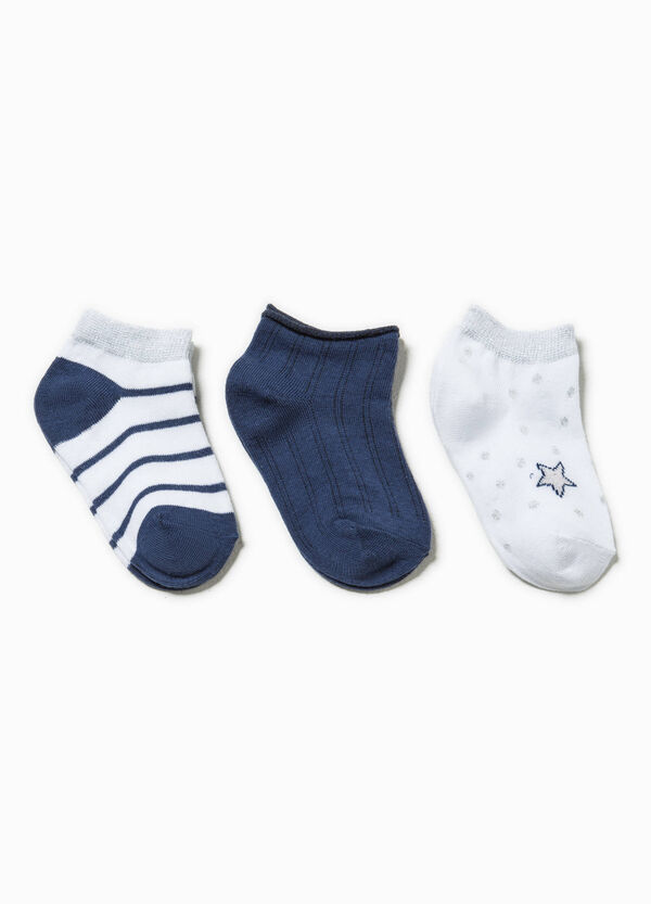 Three-pair pack short socks with stripes and polka dots | OVS