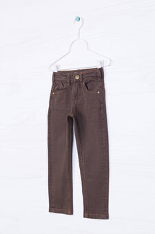 Solid colour, slim-fit stretch jeans, Brown, hi-res