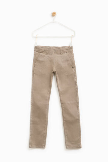 Cotton trousers with micro pattern, Beige, hi-res