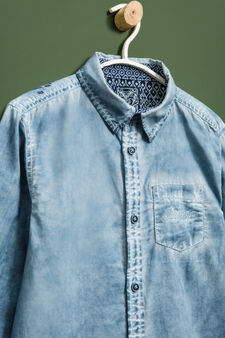 Mis-dyed-effect cotton shirt, Soft Blue, hi-res