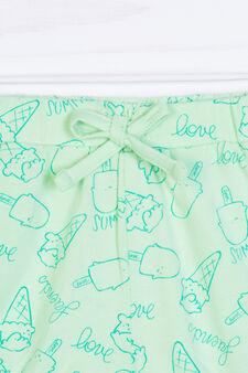 Shorts cotone stretch fantasia, Verde, hi-res