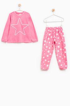 Fleece pyjamas with long sleeved top, Pink, hi-res