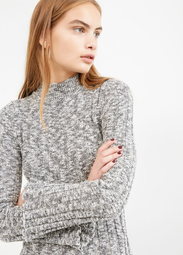 Ribbed pullover with high neck | OVS