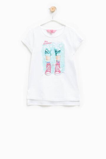 Camiseta con cuello redondo y estampado con purpurina, Blanco/Verde aguamarina, hi-res