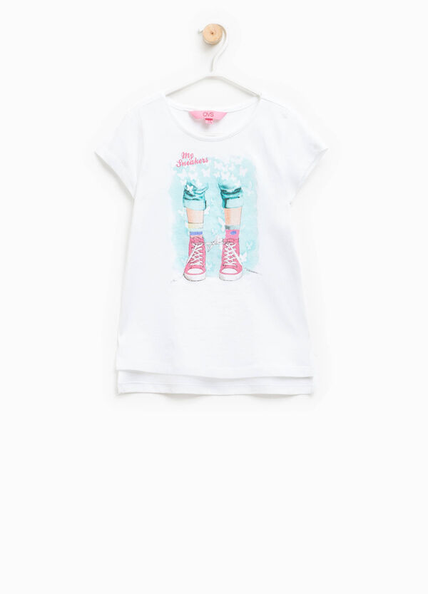 Crew-neck T-shirt with glitter print | OVS