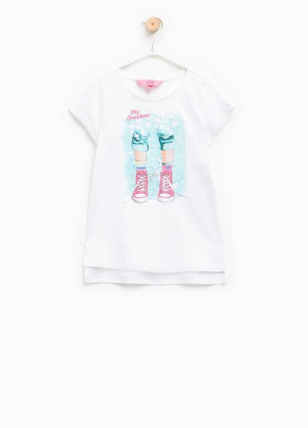 Camiseta con cuello redondo y estampado con purpurina | OVS