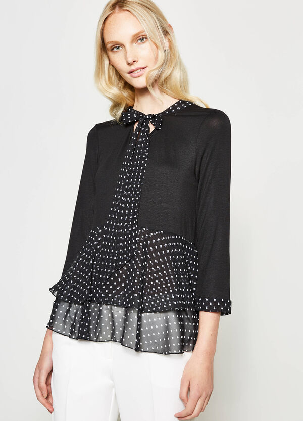 Polka dot T-shirt with tie | OVS