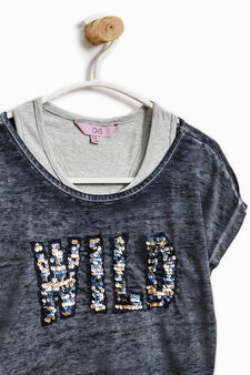 Cotton cropped T-shirt with vest top inner, Blue, hi-res
