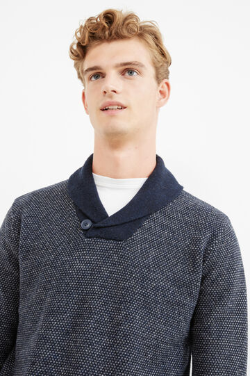 100% wool patterned knit pullover, Navy Blue, hi-res