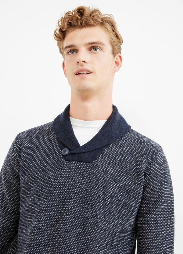 Jersey en punto tricot 100% lana con estampado | OVS