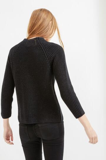 Solid colour knit cotton pullover, Black, hi-res