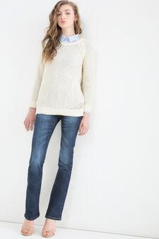 Pullover puro cotone tricot, Naturale, hi-res