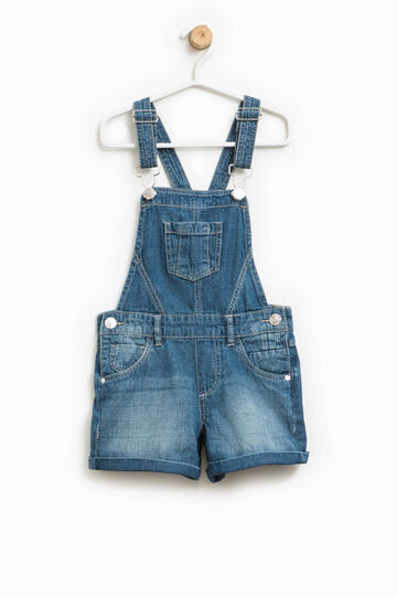 Worn-effect denim dungarees