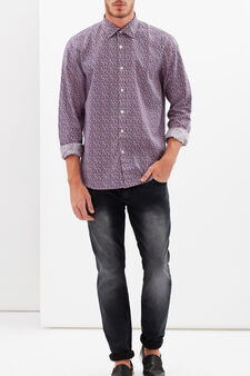 Slim-fit shirt with micro patch print, Multicolour, hi-res