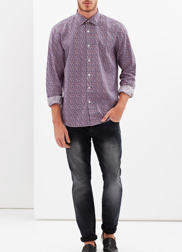Slim-fit shirt with micro patch print | OVS