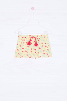 Printed shorts in 100% viscose, Yellow, hi-res