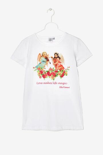 T-shirt Expo puro cotone con stampa. Designed by Elio Fiorucci, Bianco avorio, hi-res