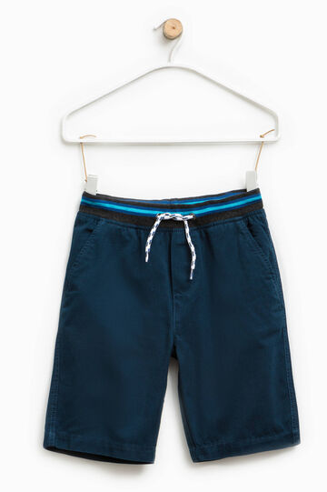 Cotton Bermuda shorts with striped waistband