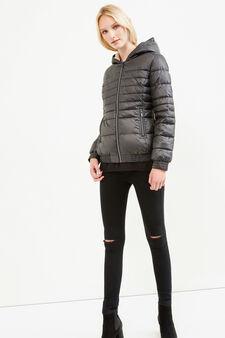 Down jacket with hood and fur lining, Dark Grey, hi-res