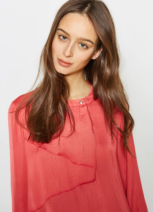 Polka dot patterned blouse with frills | OVS
