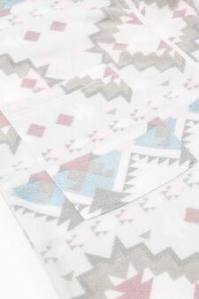 Vestaglia in pile stampa all-over, Bianco, hi-res