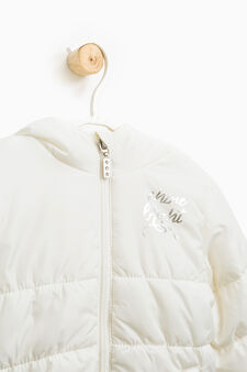 Solid colour down jacket with print, Milky White, hi-res