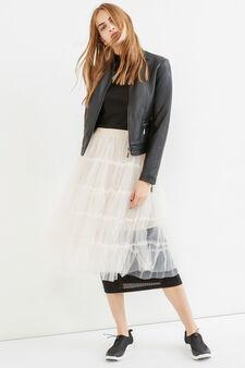 Solid colour longuette skirt in tulle, Milky White, hi-res
