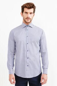 Camicia formale regular fit pied de poule, Blu/Grigio, hi-res