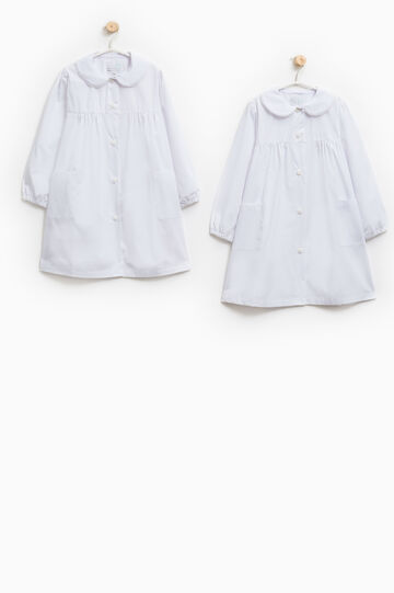 Two-pack solid colour cotton smocks, White, hi-res