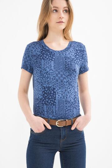 Viscose blend patterned T-shirt, Blue, hi-res