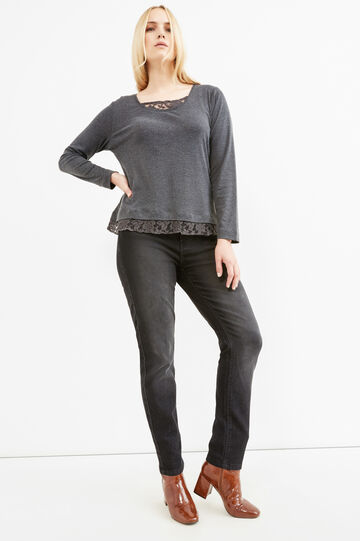 Curvy faux layered 100% cotton T-shirt, Slate Grey, hi-res