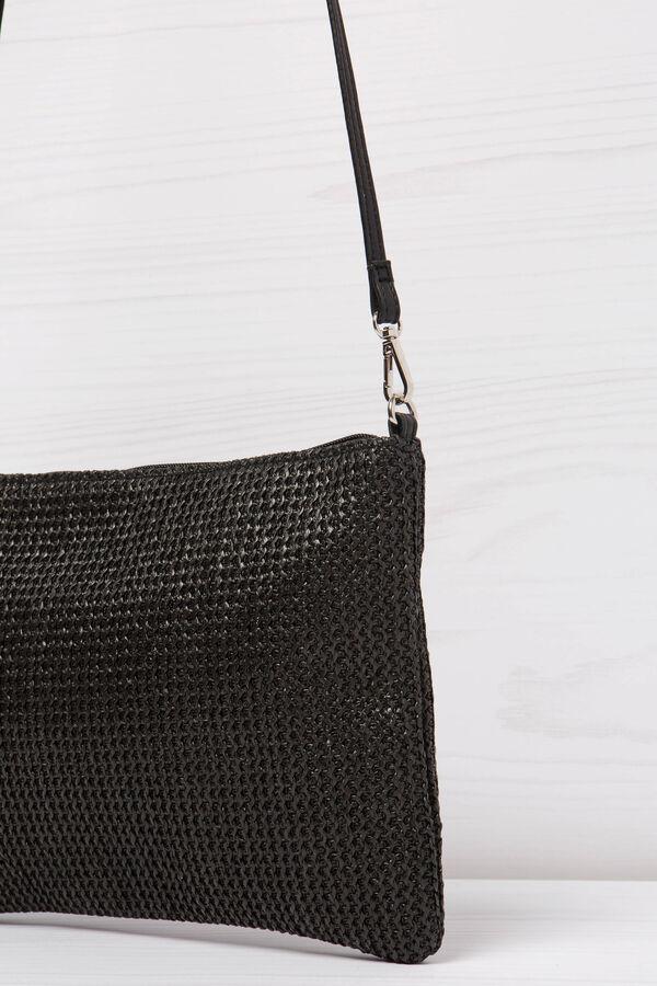 Solid colour, woven design shoulder bag | OVS