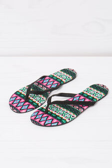 Thong sandals with glitter and pattern, Black, hi-res