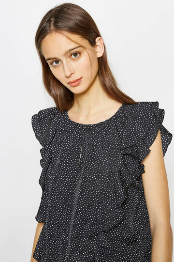 Blouse with flounce and all-over print, Black/White, hi-res