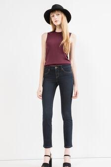 Slim-fit stretch jeans with zip, Dark Blue, hi-res