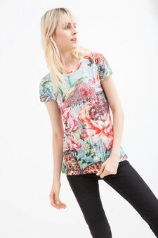 Viscose T-shirt with diamanté detail, Turquoise Blue, hi-res