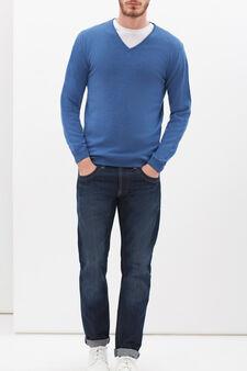 Pullover seta e cashmere scollo V, Azzurro, hi-res